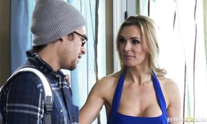 Mesmerizing blond Tanya Tate with curvy tits asked for a hug but what this babe got left her completely speechless