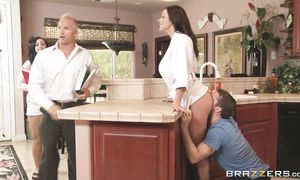 Heavenly brown-haired Kendra Lust with great tits s her mouth wide for man?s large juicy tool