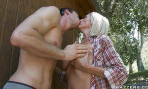 Magical breasty blond lady Emma Starr got her trimmed cherry filled up with a rock hard penis