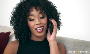 Ravishing sweetie Misty Stone's vag can take fat pecker that her mouth cant