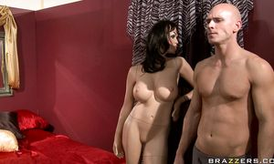 Raunchy bosomed Rachel Starr puts a large slim jim in her mouth