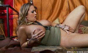 Swingeing darling Trina Michaels with firm tits couldn't decided which thing she needs 1st so she took all