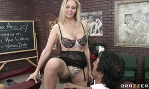 Sensual big boobed gf Julia Ann enjoys riding a large and hard pulsating rod