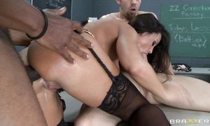 Amazing brown-haired Lisa Ann is out of her mind as she desires orgasms