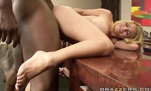 Topnotch busty blond Krissy Lynn knows how to stroke and suck an eager chopper