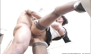 Awesome brunette Deauxma gives her partner a strong oral job