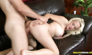 Naughty blond Holly Hart with round tits sucks a pipe like a pro