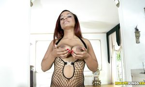 Alluring black cutie Nicole Banks with large tits and she is ready for some act