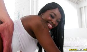 Elegant ebony girlie Christie Sweet with huge tits enjoys being thoroughly banged doggy style