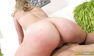 Staggering big titted blond beauty Alli Rae gets doggy styled without mercy