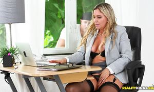 Hot big titted Angela gets her meaty cunt pounded with vigor
