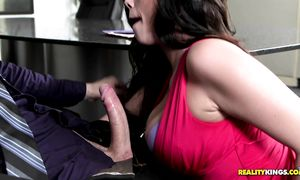 Naughty brunette Ryan Smiles with big gazoo got her nipples touched because it excites her more than anything else