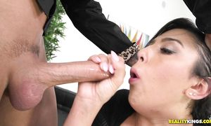 Naughty bosomed latin Lacey Lucia bangs like a fuck machine in non-stop act