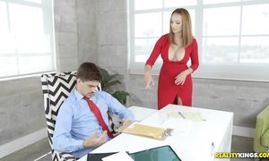 Voluptous lady Lexi Luna with round tits gives a fellatio to brutal boyfriend