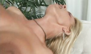 Attractive blond Holly Halston with curvy tits blows and fucks