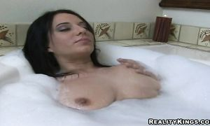 Hot-tempered brunette minx Billy with big tits does not need much to begin sucking sausage and to ride it