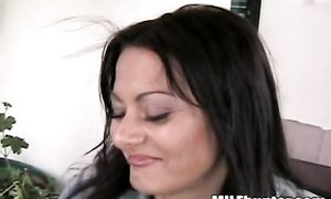 Enchanting latina cutie Zandra with great tits swallows rock solid rod passionately
