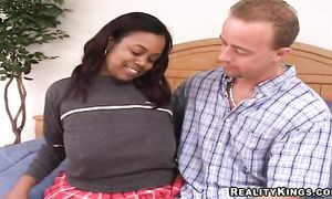 Divine brown-haired Laylani with round tits takes it from behind from immoral playmate