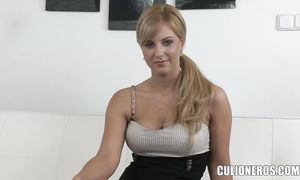 Enchanting brunette gf Nathaly with big natural tits is about to experience an intense agonorgasmos