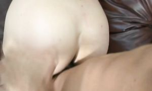 Breathtaking sweetheart with round natural tits is fucking playmate like a pro and moaning while cumming