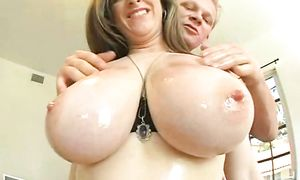 Delectable Kitty Lee with great natural tits receives a biggest tool in her juicy pussy