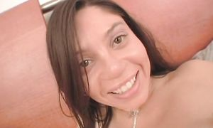 Lovable latin Luccia with round natural tits has a biggest smile on her face after a good sex