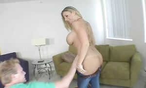Stupefying golden-haired Sara Jay with large tits moans loudly while being roughly plowed from behind