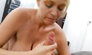 Appetizing blond Charlee Chase with curvy natural tits finally receives hard fuck
