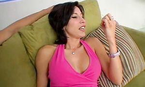 Kinky brunette Lezley Zen with huge tits is fucking pussy tester she likes a lot like never previous to