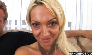Sensual bosomed blond girlfriend Donna Doll is having casual sex with a fucker and enjoying it a lot