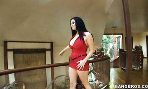 Seductive girlie Cassandra Calogera with big tits squirms while riding a throbbing prick
