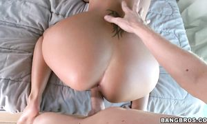 Dazzling maiden Audrina Hill with round natural tits receives a large jock in her tight pussy