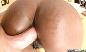 Astonishing brunette minx Nyomi Banxxx with large tits joyfully dances previous to sitting on her bf's cock