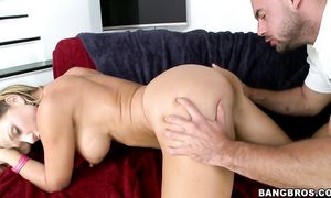 Delectable Nikki Sexx with biggest tits takes a lever in her face hole and sucks it