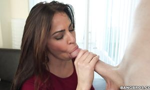 Mouthwatering latina dark-haired girlfriend Julianna Vega with curvy tits sucks large cock as a punishment