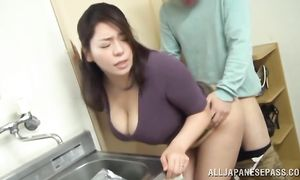 Awesome busty woman vigorously rides a big packing monster