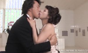 Stupefying busty housewife enjoys having her pussy smashed
