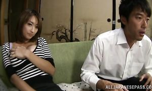 Sultry bosomed floosy Nami Horikawa's vagina is drilled