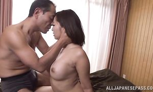 Appealing playgirl Kaori with huge tits gets seduced and sucks giant dick