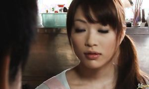 Mischievous gf Akari Hoshino with curvy tits reaches her pinnacle so she's pleasured and wild