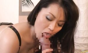 Nasty diva Miki Sato with giant tits is thoroughly pounded by her brutal hunk