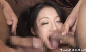 Aphrodisiac bosomed gf Miki Ichiki gets inspected by the male's pulsating probe