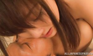 Sassy big breasted girlie Mao Kurata has her twat on active care