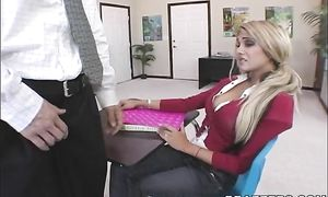 Vigorous blonde hottie Carmel Moore with great tits gets deeply fucked hard