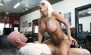 Pretty jacky fun rides hard phallus with all her might
