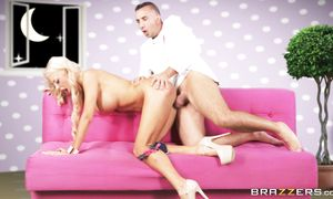 Blond Courtney Taylor with massive tits gets her astounding shaved copher penetrated unfathomable
