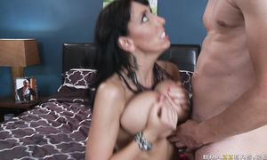 Charming maiden Alia Janine with great natural tits is screaming from pleasure while buddy is fucking her from the back