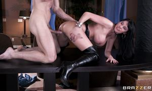 Magnificent girl Eva Karera with large tits gags and drools while deepthroating a large weenie
