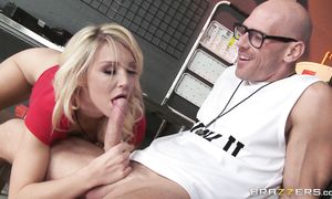 Cheerful golden-haired Laura Bentley is getting filled up with large shaft and enjoying it a lot