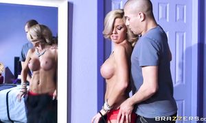 Overwhelming big boobed maid Parker Swayze is bouncing up and down while fucking boyfriend like a goddess